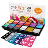 SWACC Face Paint Kits for Kids - 20 Washable Colors + Gold & Silver Glitter + 30 Stencils + 3 Brushes -Safe Face & Body Painting Makeup for Halloween Party - No-Toxic, Water Based, Easy to Use (Color: multicolored)