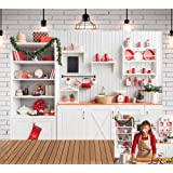 TJ Christmas Modern Kitchen Backdrop Retro White Wooden Cooking Xmas Party Photography Background Indoor Family Kids Christmas Decoration Banner Photo Studio Booth Props 7x5ft