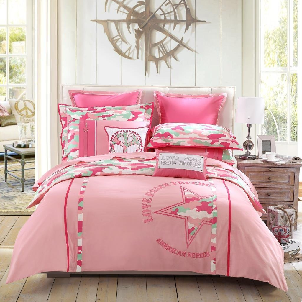 LOVO Pink Camouflage Peace Love Fashion 100% Cotton 300-Thread-Count Bedding Sheet Set 4-Piece Duvet Cover,Flat sheet & 2 Pillow Covers Pink King