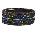Lux Accessories Black and Goldtone Glitter Crystal Studded Magnetic Bracelet