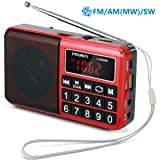 PRUNUS Portable Radio SW/FM/AM(MW)/MP3/USB/SD/TF Rechargeable with Neodymium Speaker. Large Button and Large Display. Stores Stations Automatically. (NO Manual Memory/Delete Stations Function) (Color: Red)