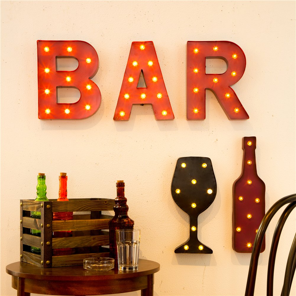 Glitzhome Vintage Marquee LED Lighted Wine Glass Sign Wall Decor Battery Operated Blue 6