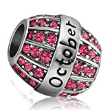 JMQJewelry Birthday Charms Bead For Bracelets (Rose, October Birthstone)