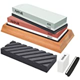 Whetstone Knife Sharpening Stone Set - Whetstone Sharpener, Flattening Stone, Polishing Tool for Kitchen, Hunting and Pocket Knives or Blades by AHNR (400/1000 and 3000/8000 Grit) (Color: 400/1000 and 3000/8000 Grit)