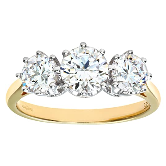 Citerna 9ct Yellow Gold CZ Three Stone Ring