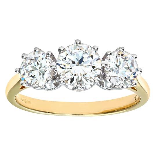 Citerna 9ct Yellow Gold CZ Three Stone Ring
