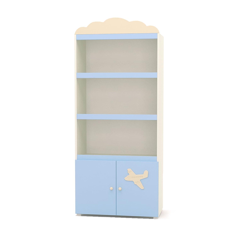 Regal für Kinder Stehregal breit mit Schrank Kinderregal AIRPLANE 80x42x172cm beige blau Rs1-80