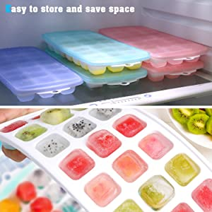 Ice Cube Trays, Ice Tray Food Grade Flexible Silicone Ice Cube Tray Molds with Lids, Easy Release Ice Trays Make 63-Ice Cube, Stackable Dishwasher Saf