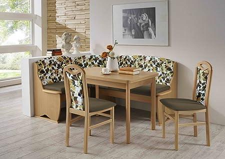 Dreams4Home Eckbankgruppe 'Leola' Essgruppe 170 x 130 x 90,5 cm Tisch 2 Stuhle modern Buche Sitz Uni braun floral Eckbank Kuchentisch 4-teilig Landhaus Kuche