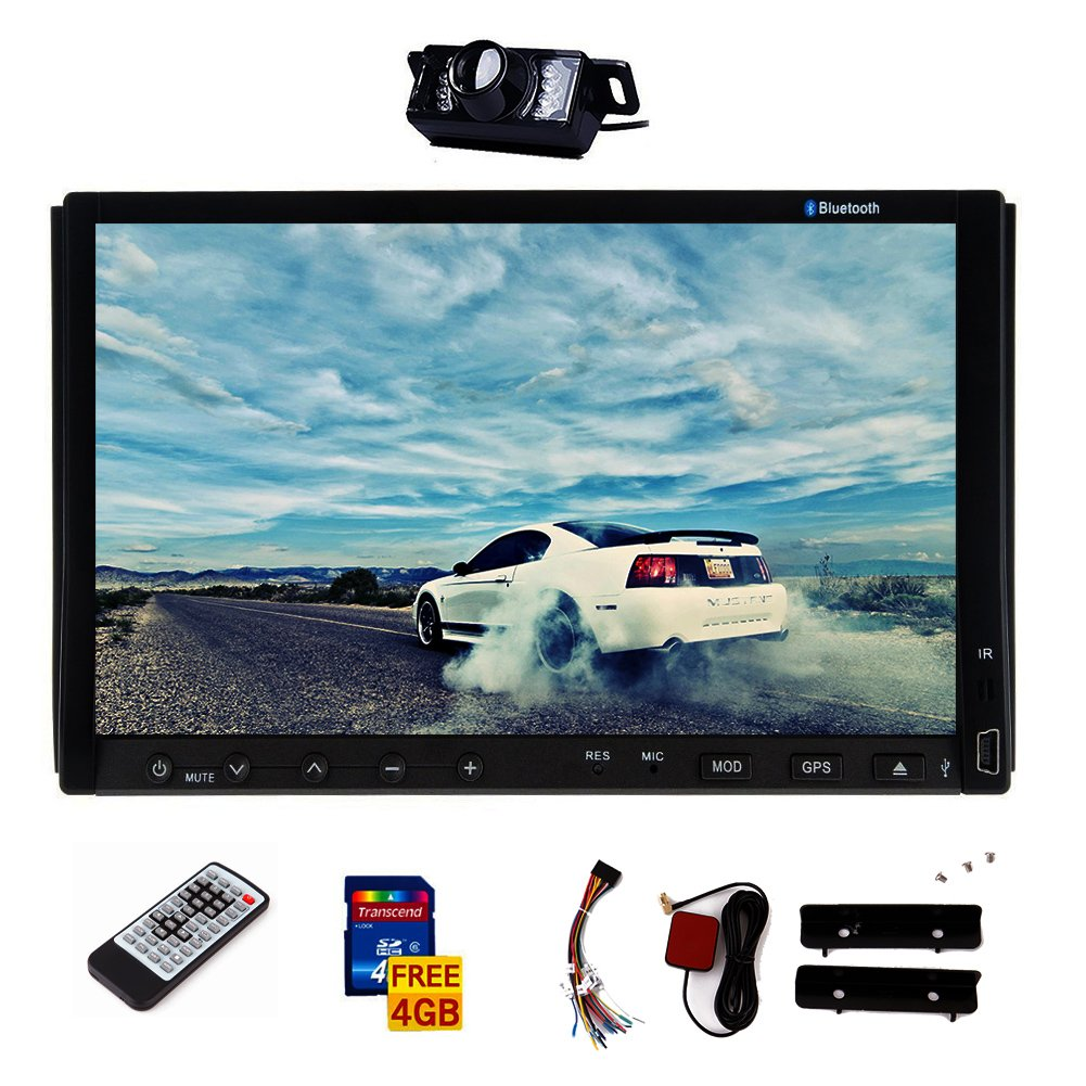 Universal 7 inch Win CE 8.0 In Dash HD Touch Screen Car DVD Player AM/FM Radio GPS Navigation Car STEREO Audio Bluetooth AUX /USB/SD/Subwoofer Output/Wireless Remote/Free LED Rear Camera