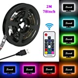LED Strip Lights, USB TV Backlight Kit RGB Bias Lighting with Remote(78inch/2m), Ambient Home Theater Light, Accent Lighting to Reduce Eye Strain and Increase Image Clarity (Color: RGB, Tamaño: 2m/78