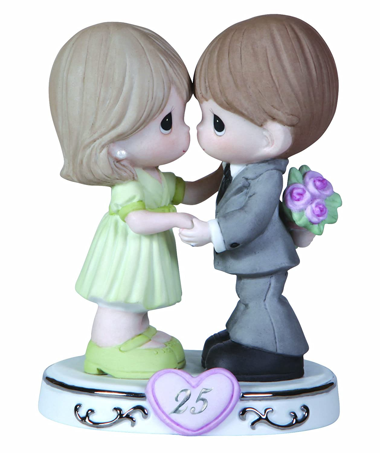 "Precious Moments, Anniversary Gifts, ""Through The Years – 25th Anniversary"", Bisque Porcelain Figurine, #123020"