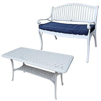 Lazy Susan - Banc GRACE et table basse rectangulaire CLAIRE - Meubles de jardin en aluminium moulé, Blanc (coussin bleu)