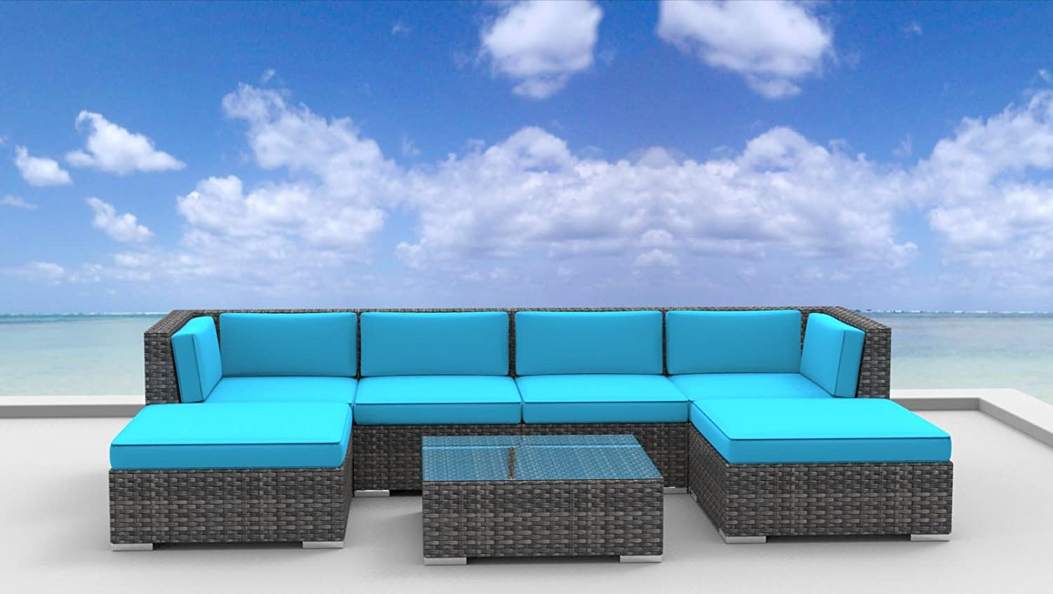 www.urbanfurnishing.net Urban Furnishing - MAUI 7pc Modern Outdoor Backyard Wicker Rattan Patio Furniture Sofa Sectional Couch Set - Sea Blue at Sears.com