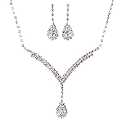 Bridal Wedding Jewelry Set Necklace Earring Crystal Rhinestone LG V Drop Silver