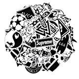 Sticker Pack [100-Pcs] Neuleben Graffiti Black White Sticker Decals Vinyls for Laptop,Kids,Cars,Motorcycle,Bicycle,Skateboard Luggage,Bumper Stickers Hippie Decals bomb Waterproof (Color: black, Tamaño: 6cm-12cm)