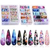 30 Color Nail Foil Transfer Sticker, Kissbuty Holographic Flower Nail Art Stickers Tips Wraps Foil Transfer Adhesive Glitters Acrylic DIY Nail Decoration, 3 Boxes (Various Flowers Starry Sky) (Color: Various Flowers Starry Sky)
