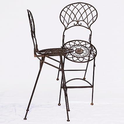 Bar Möbel Outdoor Metall Barstuhle Gartenmöbel 2er Set braun 2 hohe Bar Stuhle