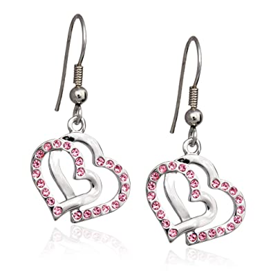 Pink Crystal Double Heart Charm Earrings Fashion Jewelry