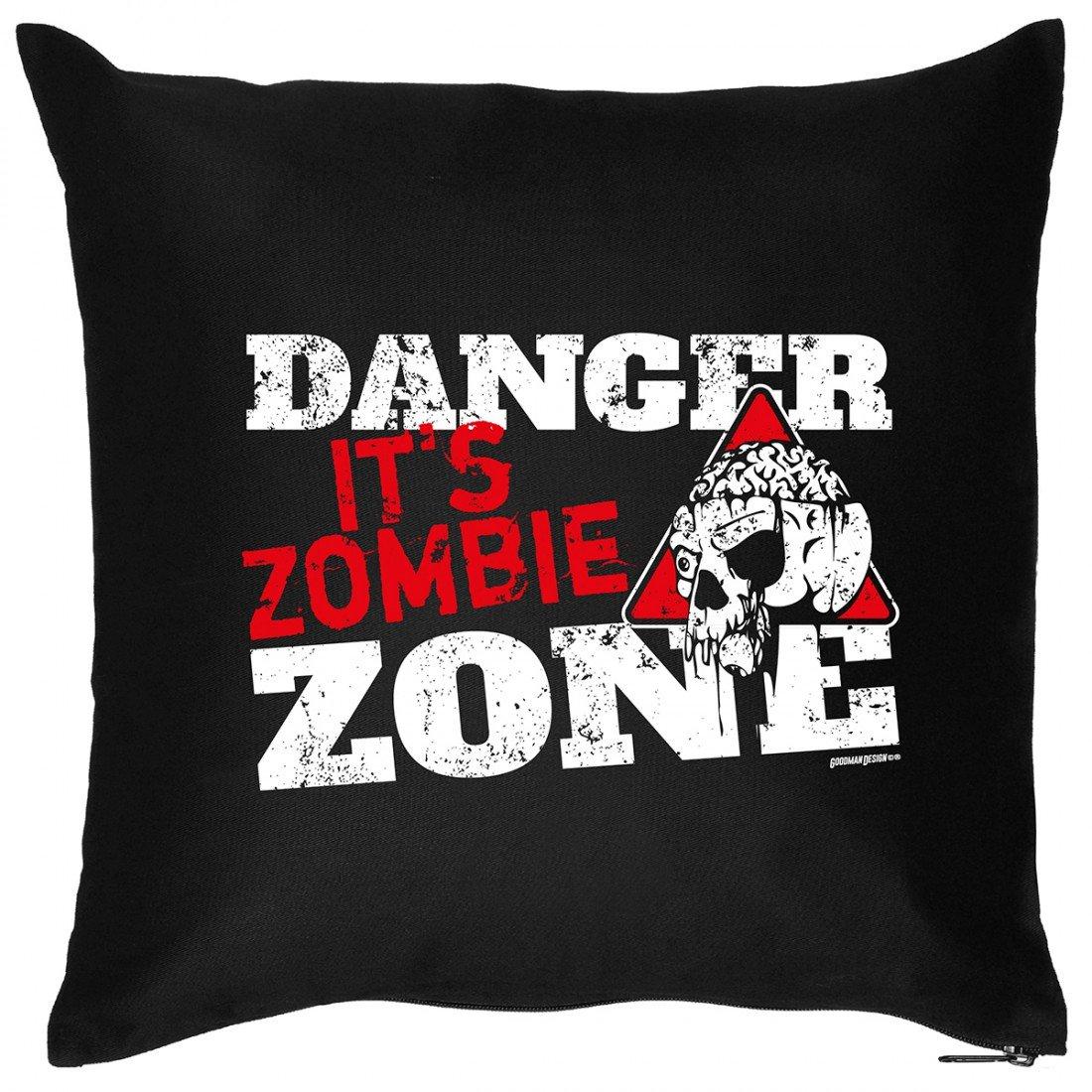 Kissen Sofakissen mit Aufdruck – Danger it´s Zombie Zone – Horror Gruselig Hexe Monster Halloween Geschenk – Wendekissen online bestellen