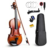 Vangoa 4/4 Full Size Solid Wood Violin Fiddle Ebony with Self-adhesive Pickup, Tuner, Case, Shoulder Rest, Rosin and Extra Strings for Beginner Student (Tamaño: Acoustic Violin)