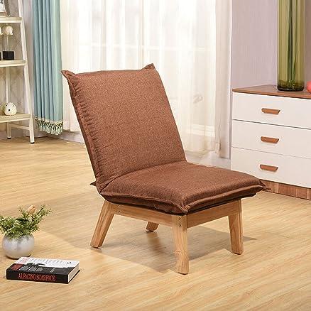 Lazy sofà sedia singolo staccabile camera da letto baraio svago divano divano sedia reclinabile sedia in tessuto ( Colore : Marrone )