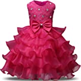 NNJXD Girl Dress Kids Ruffles Lace Party Wedding Dresses Size 3-4 Years Rose(110)