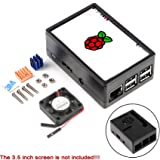 MakerFocus Raspberry Pi 3 Case Protective Case, Raspberry Pi 3.5 inch Display Case, with Mini Cooling Fan Heatsink Kit for Raspberry Pi 3B, 3B+,2B,2B+ Compatible with Raspberry Pi 3.5 inch Display (Color: Protective Case for