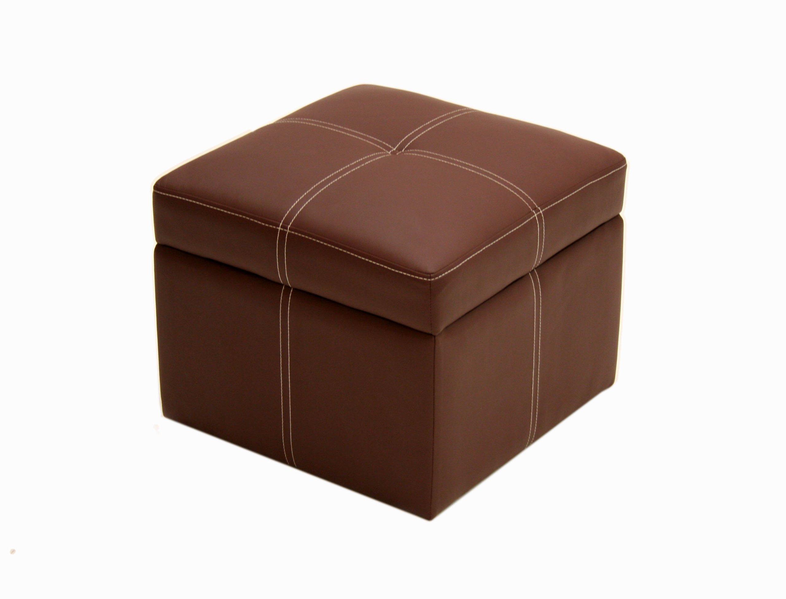Delaney small square storage ottoman brown coffee brown ebay for Small ottoman storage