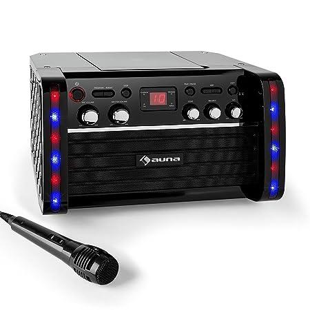 Auna Disco Fever - Chaîne Karaoke avec lecteur CD/-CD+G, effets lumineux, support ipad et micro inclus (effet echo, entrée AUX, fonction AVC)