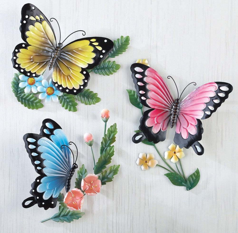 """3D Sculpted Colorful Butterflies Metal Wall Art, Hand-Painted, Set of 3, Each 9""""L x 11""""H, Multi-Colored"""
