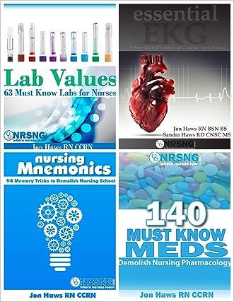 Nursing School Study Pack (Drug Reference, Labs, Mnemonics, EKG) 4 books for nursing students written by Jon Haws