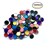HAWORTHS 100 PCS Flat Decorative Bottle CaP Craft Bottle Stickers Double Sideds Printed for Hair Bows, DIY Pendants or Craft ScraPbooks Mixed Colors(10colors)