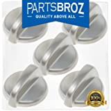 WB03T10284 Burner Control Knobs for GE Stoves, Stainless Steel Finish by PartsBroz - Replaces Part Numbers WB03T10284, AP4346312, 1373043, AH2321076, EA2321076, PS2321076 (Pack of 5) (Color: As shown in the picture)