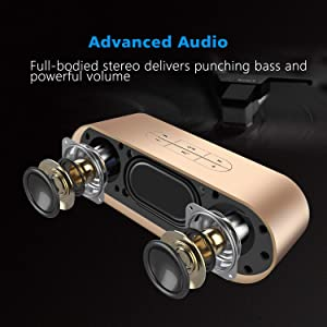 ZoeeTree S3 Wireless Bluetooth Speakers, 360° Stereo Portable Speakers with HD Audio and Enhanced Bass, Built-in Mic, TF Card Slot, AUX, 10W (Color: Gold)