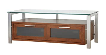 PLATEAU DECOR 50 WS Wood and Glass TV Stand, 50-Inch, Walnut Finish