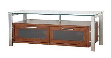 PLATEAU DECOR 50 WS Wood and Glass TV Stand, 50-Inch, Walnut Finish