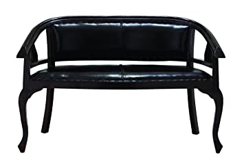 Benzara Malaga Two Seater Sofa with Black Leather Cushion Cover
