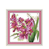 Orchid (9) Patterns Counted Cross Stitch 11ct 14ct Cross Stitch Set Flower Cross-Stitch Kit Embroidery Needlework,11ct Picture Printed (Color: 11ct Picture Printed)