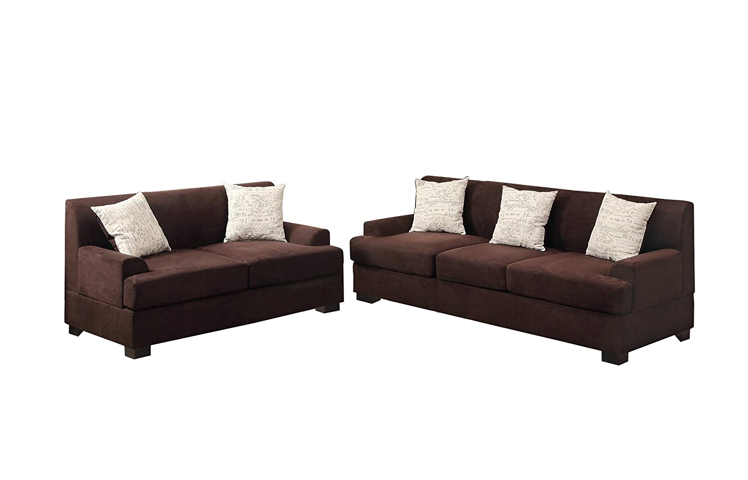 Poundex Bobkona Barrie Microsuede 2 Piece Sofa and Loveseat Set - Chocolate
