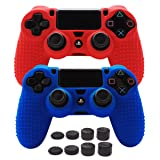 Pandaren STUDDED Anti-slip Silicone Cover Skin Set for PS4 /SLIM /PRO controller(controller skin x 2 + FPS PRO Thumb Grips x 8)(Red,Blue)