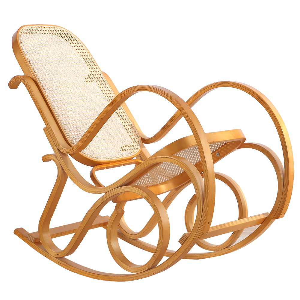 Rocking Chair Rattan Knitting Leisure Chair Vintage Living Room Furniture Conservatory Relax Bentwood Birch Easy Chair (Wood color) 0