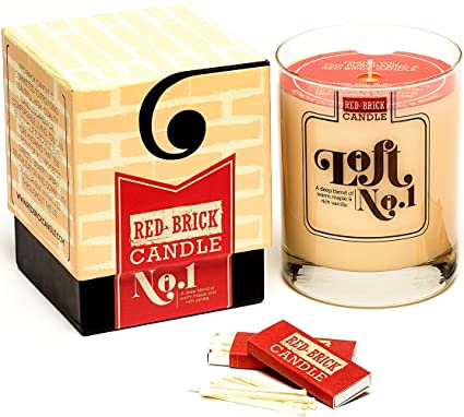 Luxury Scented Jar Candle by Red Brick Candle | Loft Collection No. 1: A Deep Blend of Warm Maple and Rich Vanilla | Handcrafted with 10.9 oz. of Natural Soy Based Wax | 75 - 80+ Hours of Burn Time