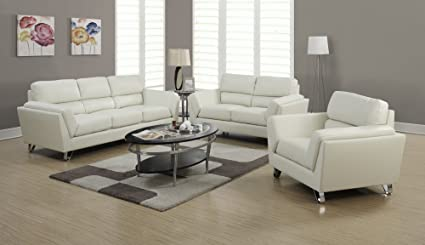 Monarch Specialties Ivory Bonded Leather/Match Sofa