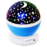 Lizber Baby Night Light Moon Star Projector 360 Degree Rotation - 4 LED Bulbs 9 Light Color Changing With USB Cable, Unique Gifts for Men Women Kids Best Baby Gifts Ever (Color: Blue)