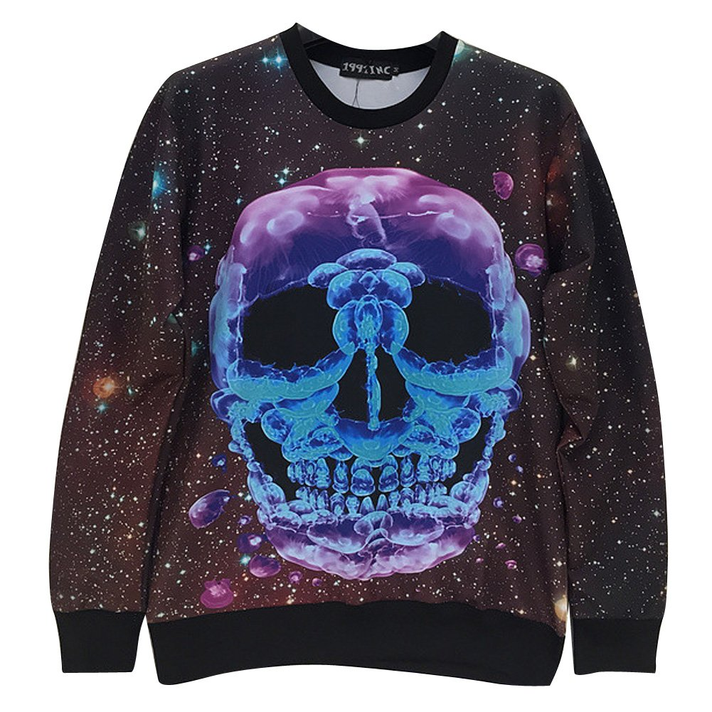 Sweaters Print Jellyfish Skull Galaxy Hoodies Sweatshirts Hip Hop Sweatshirts