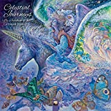 Celestial Journeys by Josephine Wall 2019 12 x 12 Inch Monthly Square Wall Calendar by Flame Tree with Glitter Flocked Cover, Fantasy Art Artist Illustration Paintings