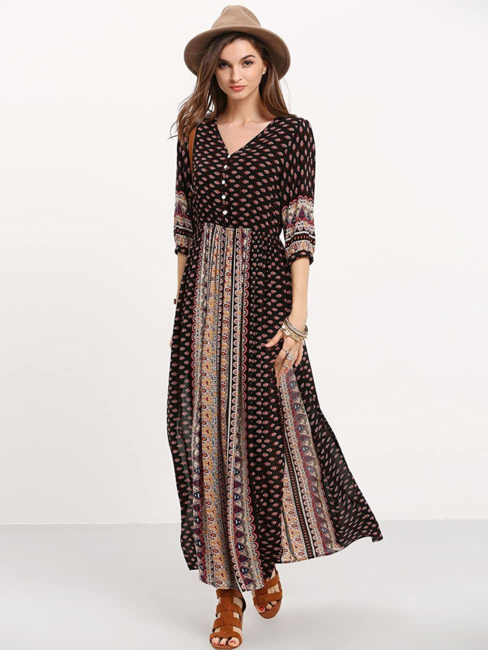 ROMWE Women's Summer Casual Half Sleeve Vintage Print Split Maxi Dress 2