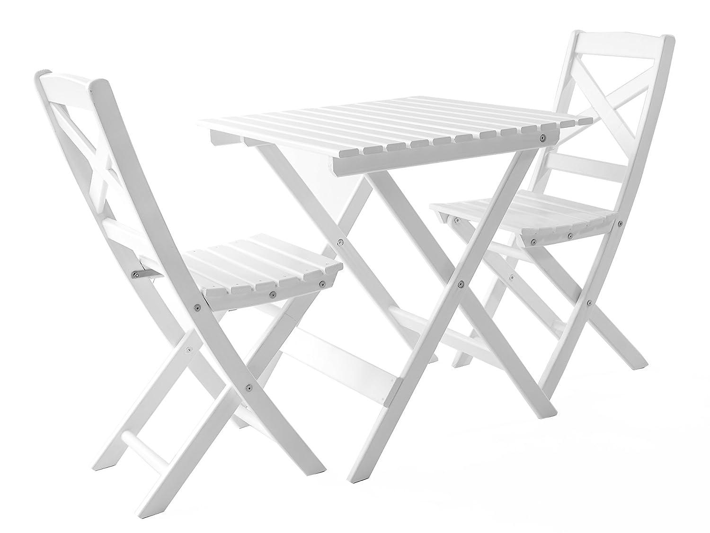 GARDENho.me Nordische Gartenmöbel 3tlg. Massivholz Balkonset Lotta 5 Farbvarianten Tischgruppe Weiß