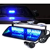 Xprite Blue 16 LED High Intensity LED Law Enforcement Emergency Hazard Warning Strobe Lights For Interior Roof / Dash / Windshield With Suction Cups